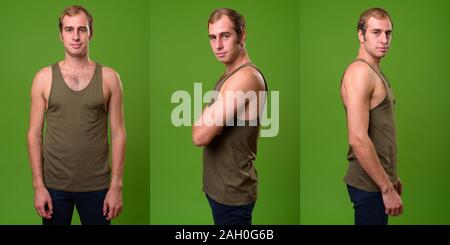 Collage of young man wearing sleeveless shirt - Stock Photo