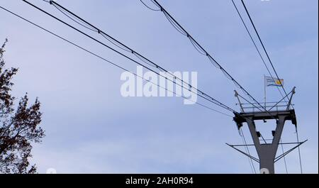 Mast from the cable car at Cologne, Germany. - Stock Photo