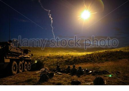 PICTURE SHOWS: Soldiers from Alpha Company, 1st Battalion, 111th Infantry, 56th Stryker Brigade Combat Team conduct a night live-fire iteration of a Combined Arms Live Fire Exercise during Exercise Decisive Strike 2019 at the Training Support Centre, Krivolak, North Macedonia, June 11, 2019. Combined training enables allies and partners to respond more effectively to regional crises and meet their own national defense goals. (U.S. Army photo by Staff Sgt. Frances Ariele Tejada)  Where: Krivolak, North Macedonia When: 11 Jun 2019 Credit: Cover Images/US Army  **THIS CREDIT *MUST* BE USED: Cover - Stock Photo