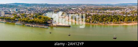 Lovely big aerial panorama picture of the headland 'Deutsches Eck' (German Corner) between the Rhine and Mosel rivers, with the Koblenz cableway... - Stock Photo