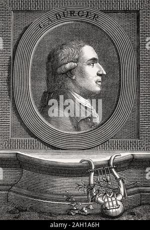 Gottfried August Buerger, 1747 - 1794, German author of The Adventures of Baron Munchausen - Stock Photo