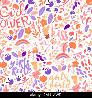 Cute cartoon feministic and floral seamless pattern with girl power and girls rules fashion elements. Cute girl seamless pattern with lipstick, hearts