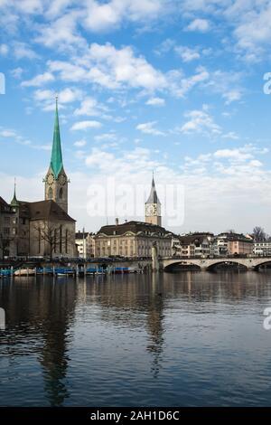 View of historic city of Zurich. Fraumunster Church and river Limmat at Lake Zurich. Canton of Zurich, Switzerland. Europe. - Stock Photo