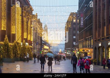 Keskuskatu Street in Christmas Decoration in Helsinki Finland - Stock Photo