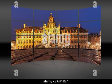 Marketplace Grote Markt with the town hall Stadhuis, Antwerp, Belgium, Europe - Stock Photo