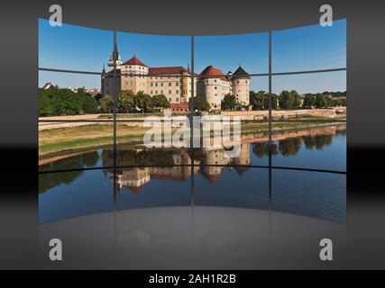 View over the Elbe river to Hartenfels Castle, Torgau, administrative district Northern Saxony, Saxony, Germany, Europe - Stock Photo