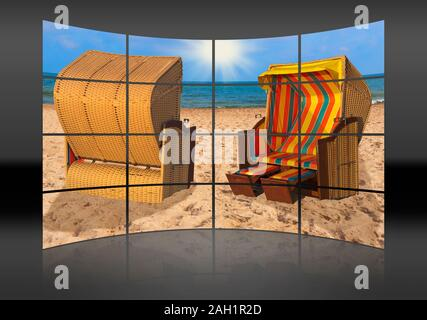 A curved wall. 16 small pictures give a whole picture. Two beach chairs are at the Baltic Sea beach in Mecklenburg Western Pomerania, Germany, Europe - Stock Photo