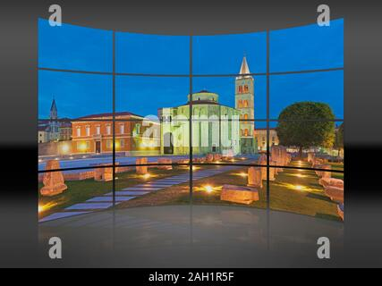 A curved wall. 16 small pictures give a whole picture. The Forum, city marketplace, located in front of the church of Saint Donat and the Saint Anasta - Stock Photo