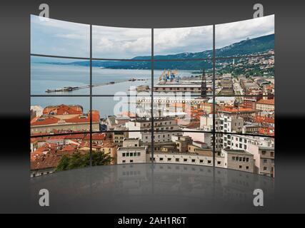 A curved wall. 16 small pictures give a whole picture. View of the harbor and the city of Trieste, Friuli-Venezia Giulia, Italy, Europe - Stock Photo