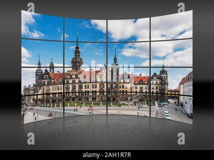 A curved wall. 16 small pictures give a whole picture. View to he Dresden Royal Palace, Dresden, Saxony, Germany, Europe - Stock Photo