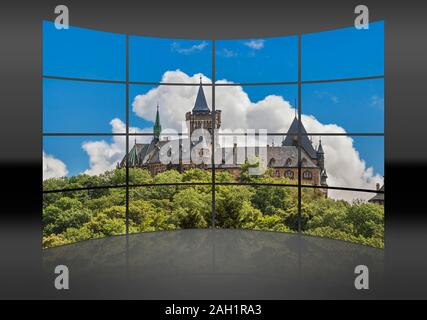 A curved wall. 16 small pictures give a whole picture. Wernigerode Castle, Harz, Saxony-Anhalt, Germany, Europe - Stock Photo