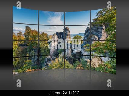 View from Ferdinand stone to the spectacular rock formation Bastei (Bastion) and Bastei Bridge, Saxony, Germany, Europe - Stock Photo