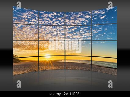 A curved wall. 16 small pictures give a whole picture. Sunset at the beach of the Baltic Sea in Kolobrzeg, Western Pomerania, Poland, Europe - Stock Photo