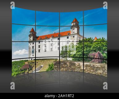 A curved wall. 16 small pictures give a whole picture. Bratislava castle is located in Bratislava, the capital of Slovakia in Europe - Stock Photo