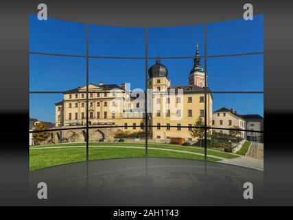The Lower Castle is situated on the banks of the White Elster next to the St. Marys Church, Greiz, Thuringia, Germany, Europe - Stock Photo