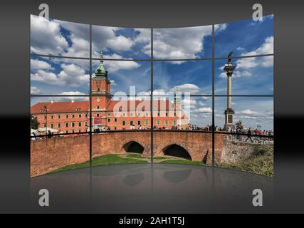 The Palace Square with Sigismunds Column and the Royal Castle in Warsaw, Masovian, Poland, Europe
