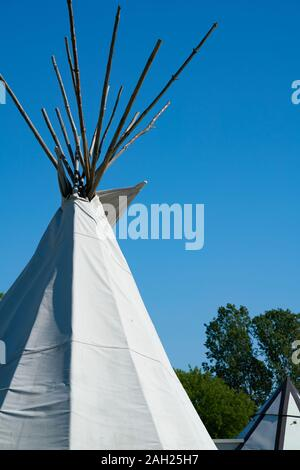 Tipi on a popular camping site in Bertingen near Magdeburg - Stock Photo