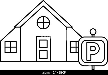 house front facade with parking signal - Stock Photo