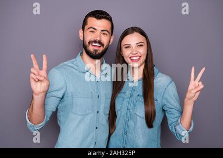 Portrait of his he her she two nice-looking attractive charming lovely cheerful cheery glad positive person travelers showing v-sign peace dream - Stock Photo
