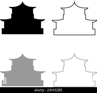 Chinese house silhouette Traditional Asian pagoda Japanese cathedral Facade icon outline set black grey color vector illustration flat style simple - Stock Photo
