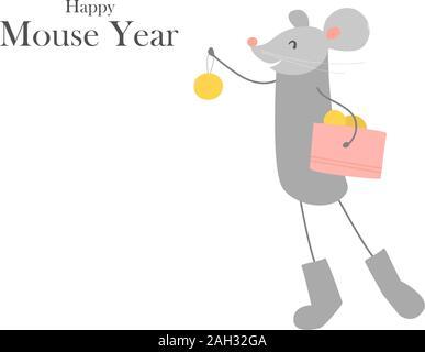 Symbol of chinese new year 2020. Rat. Funny happy smiling mouse in felt boots with balls. Christmas tree decoration. Vector illustration isolated on - Stock Photo