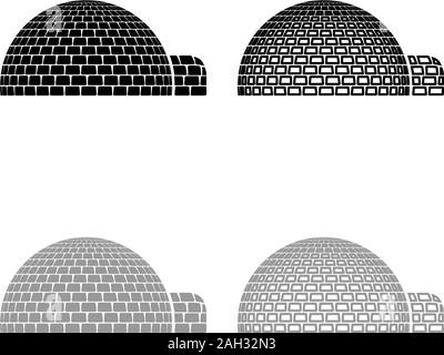Igloo dwelling with icy cubes blocks Place when live inuits and eskimos Arctic home Dome shape icon outline set black grey color vector illustration - Stock Photo