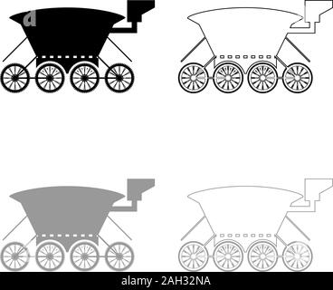 Moon rover Mars explorer Space machine Planets vehicle icon outline set black grey color vector illustration flat style simple image - Stock Photo