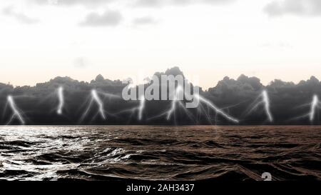 Lightning strikes on the sea surface in stormy sea in the Atlantic Ocean - Stock Photo