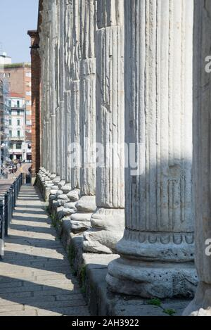 Milan Italy 17 April 2019: The columns of San Lorenzo, an ancient building from the late Roman period of Milan