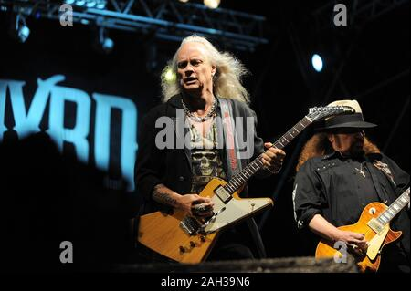 Vigevano Italy, from 13 June to 24 July 2012, live concerts Festival of Vigevano: the guitarist of Lynyrd Skynyrd, Rickey Medlocke - Stock Photo