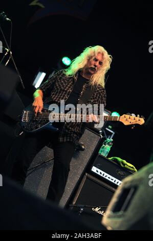 Vigevano Italy, from 13 June to 24 July 2012, live concerts Festival of Vigevano:  the bassist of Molly Hatchet,Tim Lindsey , during the concert - Stock Photo