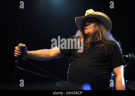Vigevano Italy, from 13 June to 24 July 2012, live concerts Festival of Vigevano: the guitarist of Molly Hatchet,Bobby Ingram , during the concert - Stock Photo