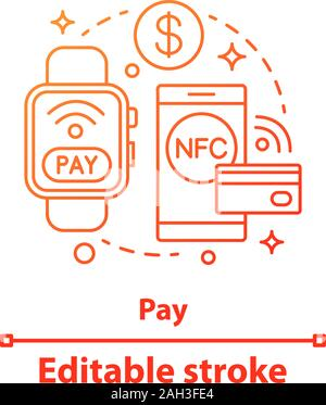 E-payment concept icon. NFC payment. Contactless payment. Online money transaction. NFC smartwatch, smartphone idea thin line illustration. Vector iso - Stock Photo