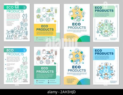Eco products brochure template layout. Ecological farming. Flyer, booklet, leaflet print design with linear illustrations. Organic food. Vector page f - Stock Photo
