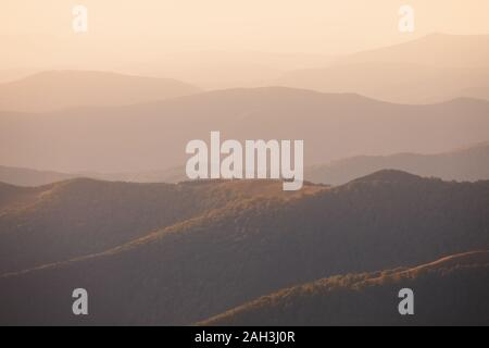 Great Smoky Mountain panoramic on a clear blue sky day in October during the Autumn season leaf change. - Stock Photo