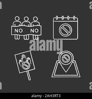 Protest action chalk icons set. Social movement date, protest location, banner, picket. Isolated vector chalkboard illustrations - Stock Photo