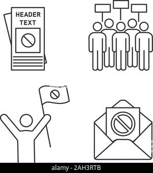 Protest action linear icons set. Protester, meeting, protest email, leaflet. Thin line contour symbols. Isolated vector outline illustrations. Editabl - Stock Photo
