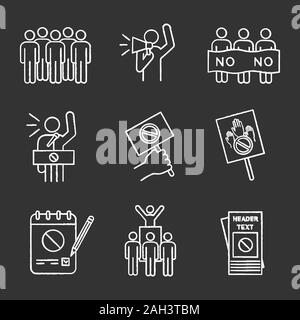 Protest action chalk icons set. Meeting, protester, picket, speech, banner, protest placard, petition, leader, leaflet. Isolated vector chalkboard ill - Stock Photo