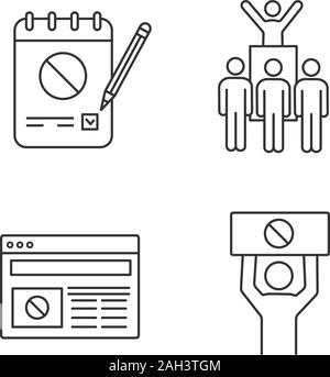 Protest action linear icons set. Petition, protest leader, social movement, political internet news. Thin line contour symbols. Isolated vector outlin - Stock Photo