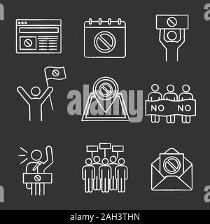 Protest action chalk icons set. Protest banner, date, protester, internet news, location, email, picket, strike, speech. Isolated vector chalkboard il - Stock Photo