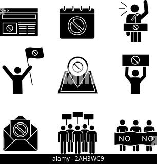 Protest action glyph icons set. Protest banner, date, protester, internet news, location, email, picket, strike, speech. Silhouette symbols. Vector is - Stock Photo
