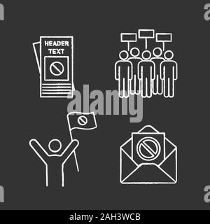 Protest action chalk icons set. Protester, meeting, protest email, leaflet. Isolated vector chalkboard illustrations - Stock Photo