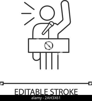 Protester speech linear icon. Political or social movement participant. Thin line illustration. Protest leader. Person shouting slogans. Vector isolat - Stock Photo