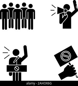 Protest action glyph icons set. Meeting, protester, protest banner, speech. Silhouette symbols. Vector isolated illustration - Stock Photo