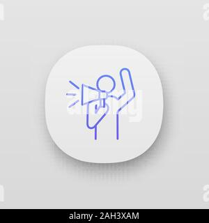 Protester app icon. Protest individual action. Breaking news. Protest speech. Man shouting slogans. Person holding megaphone. UI/UX interface. Web or - Stock Photo