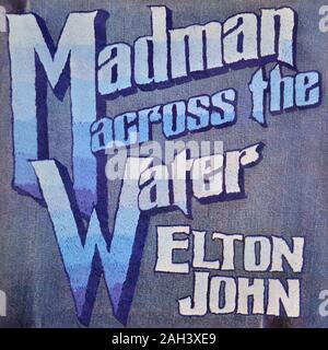 Elton John original vinyl album cover - Madman Across The Water - 1971 - Stock Photo