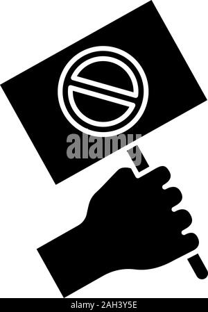 Protest banner in hand glyph icon. Protester'€™s or activist'€™s hand. Demonstration, meeting. Protest placard. Social and political movement. Silhoue - Stock Photo