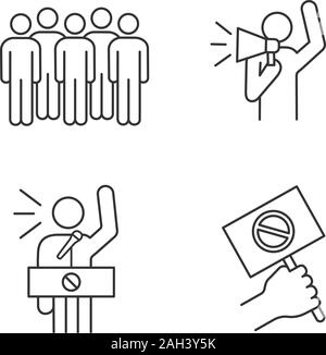 Protest action linear icons set. Meeting, protester, protest banner, speech. Thin line contour symbols. Isolated vector outline illustrations. Editabl - Stock Photo