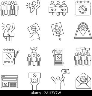 Protest action linear icons set. Political behaviour. Social and political movements. Democracy, rights protection. Thin line contour symbols. Isolate - Stock Photo