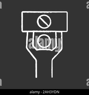 Protester chalk icon. Protest event. Social or political movement. Person holding protest banner. Human rights protection. Contentious action. Isolate - Stock Photo